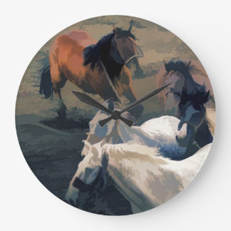 - Wilde Pferde frei brechen Große Wanduhr