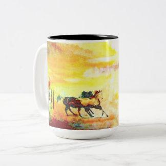 Wilde Pferde Zweifarbige Tasse
