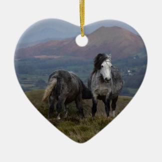 Wilde Ponys Keramik Ornament