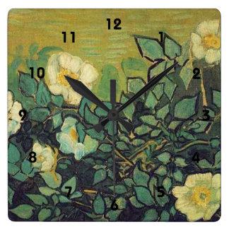 Wilde Rosen, 1890.  Vincent van Gogh. Quadratische Wanduhr