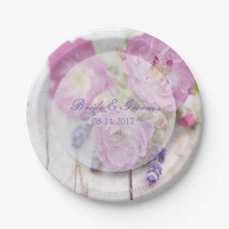 Wilde Rosen-u. Lavendel-Sommer-Blumen-Hochzeit Pappteller