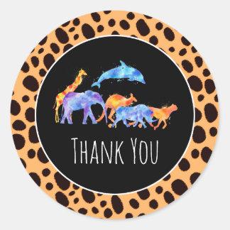 Wilde Tiere auf exotischem Gepard-Druck danken Runder Aufkleber
