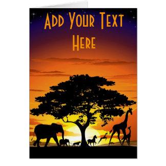 Wilde Tiere auf Savanne-Sonnenuntergang-Karte Karte