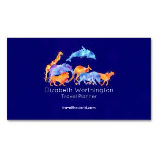 Wilde Tiere, die zusammen buntes Aquarell laufen Magnetische Visitenkarten