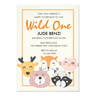 Wilde Waldtier-erste Geburtstagseinladung 12,7 X 17,8 Cm Einladungskarte