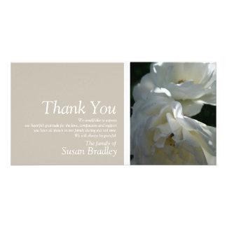 Wilde weiße Rosen 3 - Beileid danken Ihnen Foto Karte