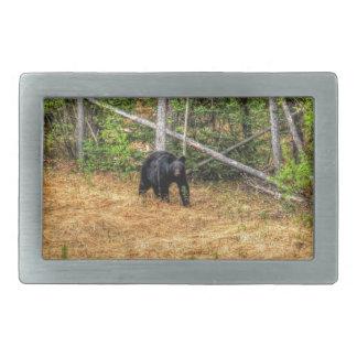 Wilder schwarzer Bär u. Yukon-WaldFoto-Kunst Rechteckige Gürtelschnallen