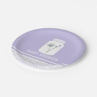 Wildes Blumen-Maurer-Glas und Spitze-Baby-Dusche Pappteller