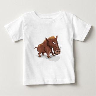 Wildes braunes Schwein der lustigen Humore des Baby T-shirt