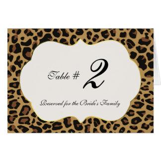 Wildes Jaguar-Muster-Wedding Tischnummer Karte