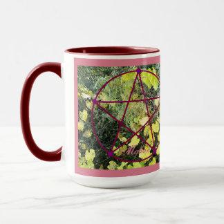 Wildes Mabon Pentagramm/addieren Ihre Farbe Bkgd Tasse