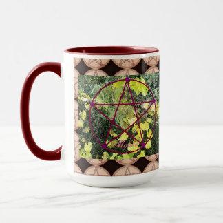 Wildes Mabon Pentagramm/Pentagramm Bkgd Tasse