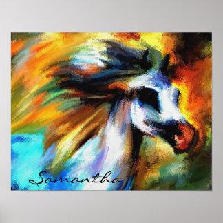 Wildes Pferdeabstraktes buntes Malerei-Plakat Poster