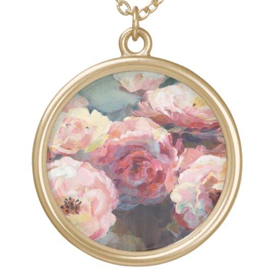 Wildes Rosa-Rosen Halskette Mit Rundem Anhänger