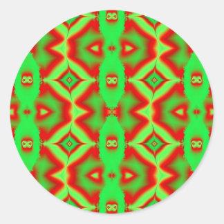 wildes rotes Grün Runder Aufkleber
