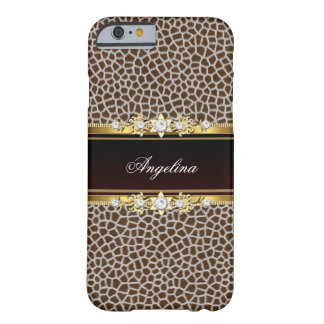 Wildes Tier-Brown-Imitat-Golddiamant-Juwel Barely There iPhone 6 Hülle