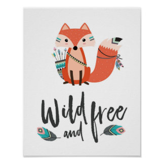 Wildes und freies Plakat wenigen Fox