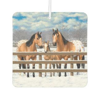 Wildlederappaloosa-Pferde im Schnee Lufterfrischer