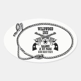 Wildwood Gasthaus-Logo-Aufkleber Ovaler Aufkleber
