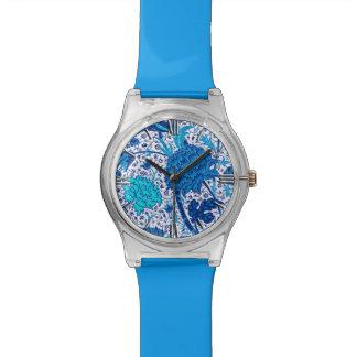 William Morris-Jacobean Blumen, Kobalt-Blau Uhr