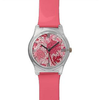 William Morris-Jacobean Blumen, Korallen-Rosa Armbanduhr