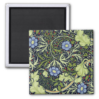 William Morris-Meerespflanze-Tapeten-Muster Quadratischer Magnet