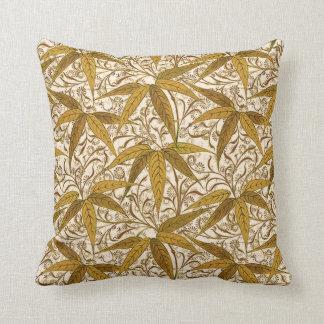William Morrisbambusdruck, -gold und -creme Kissen