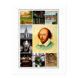 William Shakespeare u. Stratford-nach-Avon Postkarte