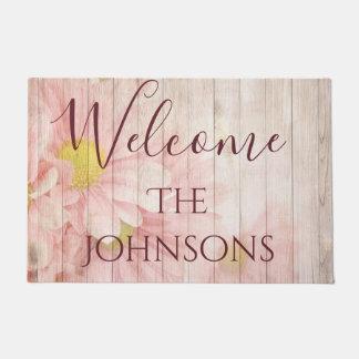 Willkommen personifizieren rosa Chic-Blumen Türmatte