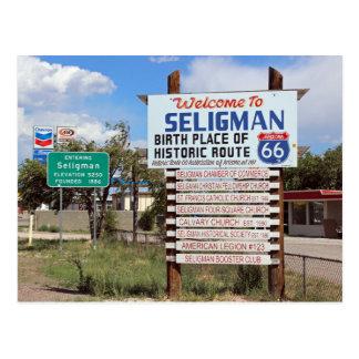 Willkommen Postkarte zur Seligman Weg-66!
