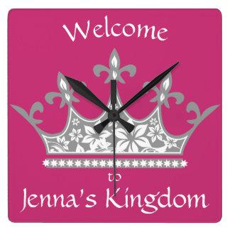 """""""Willkommen zu meinem Königreich"""" Prinzessin Crown Quadratische Wanduhr"""