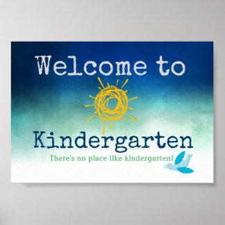 Willkommen zum Kindergarten-Tür-Plakat Poster