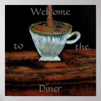 Willkommen zum Restaurantteatime-Plakat