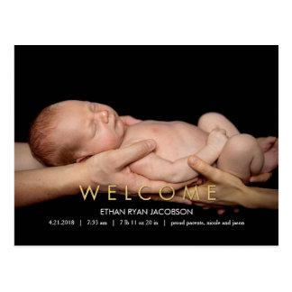 WILLKOMMENE moderne Geburts-Mitteilung Postkarte