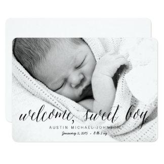 Willkommene süße Foto-Geburts-Mitteilung des Karte