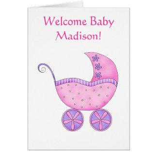 Willkommener Baby-Mädchen-Namen-personalisierte Grußkarte