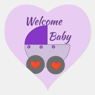 willkommenes Baby Herz-Aufkleber