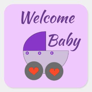 willkommenes Baby Quadratischer Aufkleber