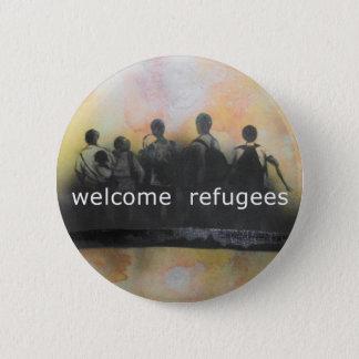 Willkommenes Flüchtlings-Abzeichen Runder Button 5,7 Cm