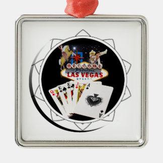Willkommenes Zeichen-Schwarz-Poker-Chip Quadratisches Silberfarbenes Ornament