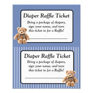 Windelraffle-Babyparty-Spiel-Blau-Teddybär Flyer