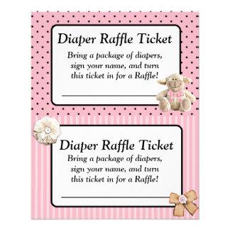 Windelraffle-Babyparty-Spiel, rosa Bogen schäbig Flyer