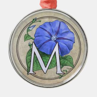 Winden-Blumen-Monogramm Silbernes Ornament