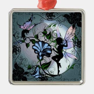 Winden-Schatten-Fee und kosmische Katze Silbernes Ornament
