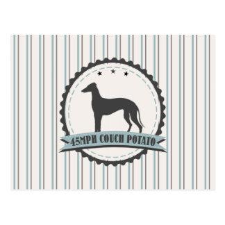 Windhund 45 MPH, die Jagdhund-Emblem laufen Postkarte