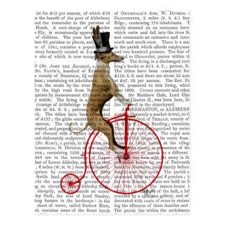 Windhund auf rotem Penny-Farthing-Fahrrad Postkarte