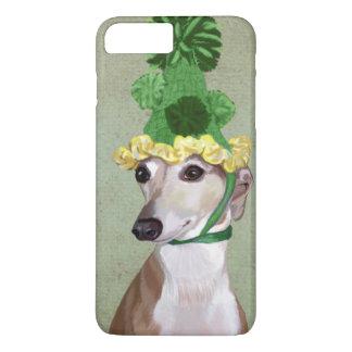 Windhund in Grün gestricktem Hut iPhone 8 Plus/7 Plus Hülle