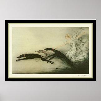 """Windhund-"""" Kunst-Deko-Druck Louis Icart """"laufend Poster"""