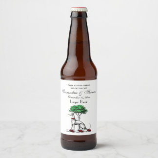 Windhund Whippet mit Baum-heraldischem Bierflaschenetikett