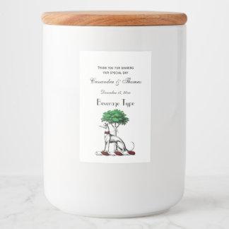 Windhund Whippet mit Baum-heraldischem Lebensmitteletikett